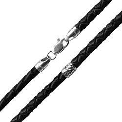 Черный плетеный кожаный шнурок Эртан с широкими серебряными вставками, 4мм