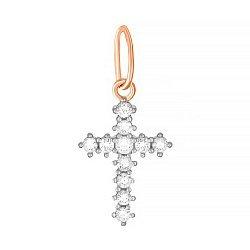 Серебряный крестик с фианитами и позолотой 000025142