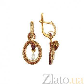 Серьги-подвески из желтого золота Змейки VLT--ТТ2222-1