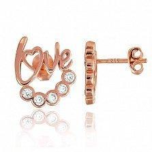 Серебряные серьги с позолотой и фианитами LOVE