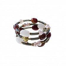 Спиральный браслет Настроение с разноцветным кварцем и кристаллами Swarovski