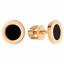 Золотые серьги-пуссеты Тоннели с черным агатом