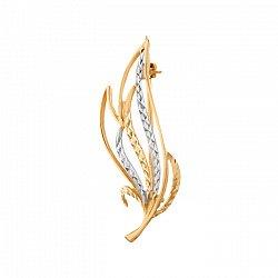 Золотая брошь Вереск с алмазной срезкой