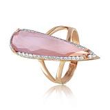 Золотое кольцо Галадриэль с розовым халцедоном и фианитами