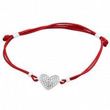 Шелковый браслет Сияние сердца в серебре с фианитами
