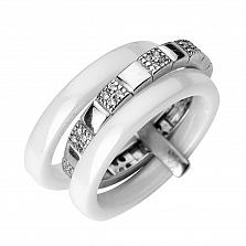 Серебряное тройное кольцо Софрония с белой керамикой и фианитами