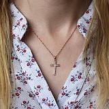 Золотой крестик Нагори в красном цвете с бриллиантами