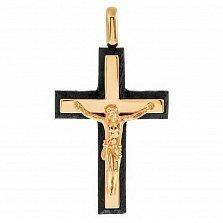 Золотой крест Сила Спасителя с эбеновым деревом