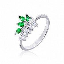 Серебряное кольцо Папоротник с зелеными и белыми фианитами