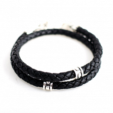 Двойной кожаный браслет Crixus Double с черненой серебряной застежкой
