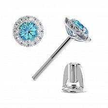 Золотые пуссеты Вилена с голубыми топазами и бриллиантами