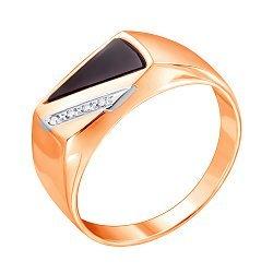 Золотой перстень-печатка в комбинированном цвете с цирконием и черным ониксом 000117642