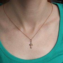 Матовый золотой крестик Спасение Небесное с глянцевыми краями