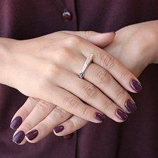 Серебряное разомкнутое кольцо Восклицательный знак с черным фианитом