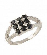 Серебряное кольцо Бригита с сапфирами и фианитами