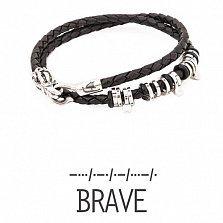 Кожаный браслет с серебром Brave