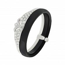Кольцо в белом золоте Императрица с керамикой и бриллиантами