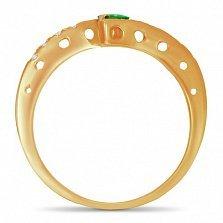 Золотое кольцо Анталия в красном цвете с синтезированным изумрудом и дорожками фианитов