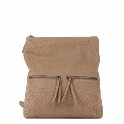 Кожаный рюкзак Genuine Leather 8869 цвета тауп с двумя карманчиками на лицевой стороне