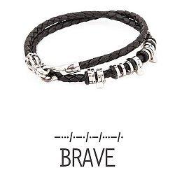 Кожаный браслет со словом Brave из серебра азбукой Морзе
