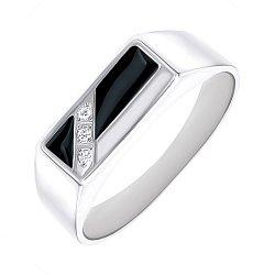 Срібний перстень-печатка з чорною емаллю і доріжкою фіанітів 000093475
