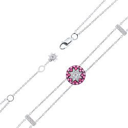 Золотой браслет с бриллиантами, лейкосапфиром, рубинами и розовыми сапфирами 000082064