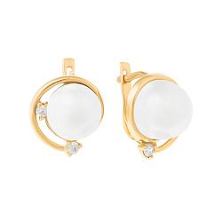 Золотые серьги Леонтина с белыми жемчугом и фианитами