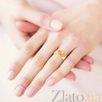 Обручальное кольцо из желтого золота с эмалью Талисман: Добра 3064