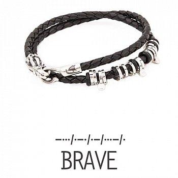 Кожаный браслет со словом Brave из серебра с азбукой Морзе 000050002