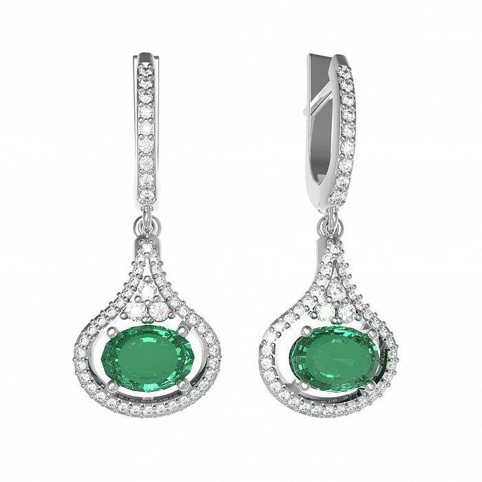 Серебряные серьги-подвески Алисия с зеленым кварцем и фианитами 000079736