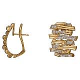 Серьги из желтого золота Кантри с бриллиантами