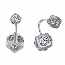 Серебряные серьги Квадро с фианитами