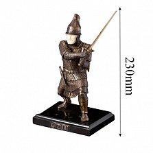 Бронзовая скульптура Русский воин на обсидиановой подставке
