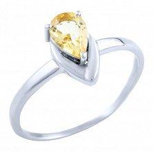Серебряное кольцо Капля солнца с цитрином