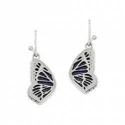 Серебряные серьги-подвески Крылья бабочки с лазуритом