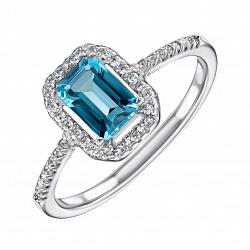 Серебряное кольцо с голубым топазом и фианитами 000133831
