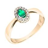 Кольцо из красного золота Мирах с изумрудом и бриллиантами