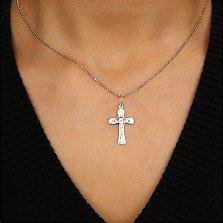 Серебряный крестик Иисус Всеблагий с насечкой