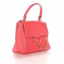 Кожаная деловая сумка Genuine Leather 8941 кораллового цвета с декоративной цепочкой и кольцом