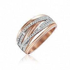 Серебряное кольцо Каскад с позолотой и фианитами
