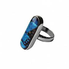 Серебряное кольцо с имитацией опала Акварель