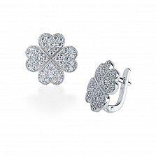 Серебряные серьги Удача в любви с кристаллами циркония