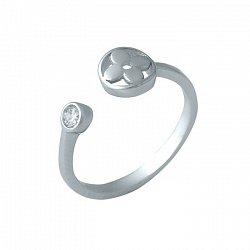 Разомкнутое серебряное кольцо Цветочное чудо с фианитом в стиле Луи Виттон