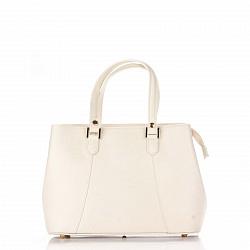Кожаная деловая сумка Genuine Leather 8656 бежевого цвета с тремя отделениями и врезным карманом
