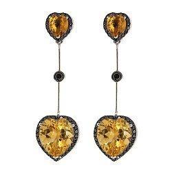 Серьги-подвески в белом золоте с цитринами и черными бриллиантами 000022043