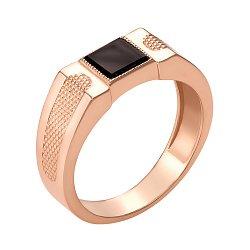 Золотой перстень-печатка в красном цвете с черным ониксом 000106438