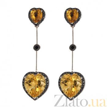 Серьги-подвески в белом цвете золота с цитрином и бриллиантами Танго ZMX--ECtDb-6609w_K