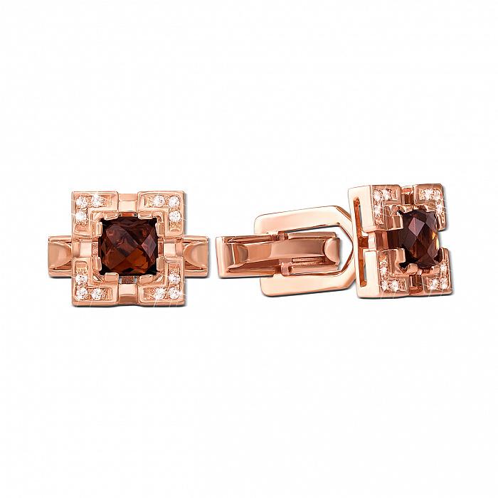 Запонки из красного золота с раухтопазами и фианитами 000134431 000134431