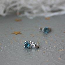 Серебряные серьги Горная чистота с кварцем london blue и фианитами