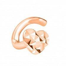 Золотой пирсинг для носа Сердечко в красном цвете с алмазной гранью